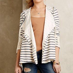 Anthropologie Saige Draped Hooded Stripe Cardigan